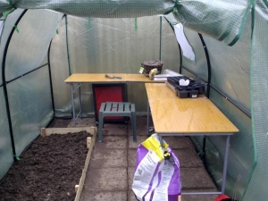inside poly tunnel removable tables and raised bed